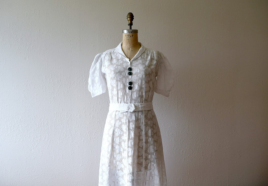 1930s white filet lace dress . vintage 30s dress