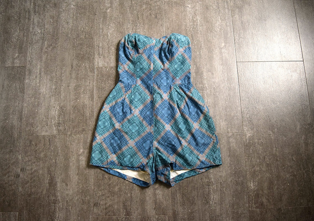 1950s plaid playsuit . vintage 50s cotton beachwear