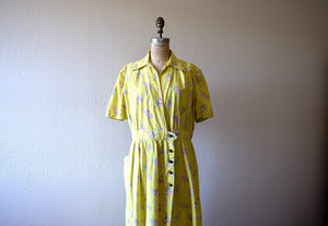 1940s chartreuse dress . vintage 40s volup dress