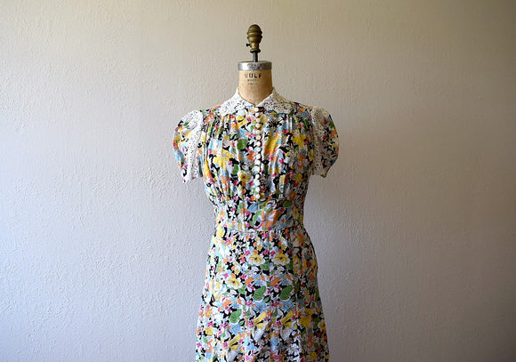 RESERVED . . . 1930s puff sleeve dress . vintage 30s floral print dress