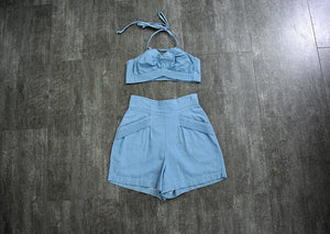 1940s Koret playsuit . vintage blue denim playsuit