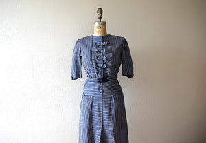 1940s dress . vintage 40s striped dress
