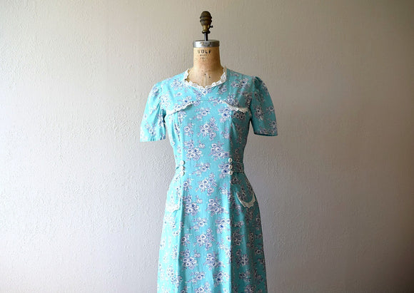 1930s 1940s dress . vintage mint green floral dress