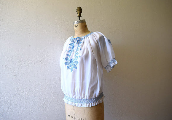 1950s embroidered top . vintage 50s Hungarian blouse