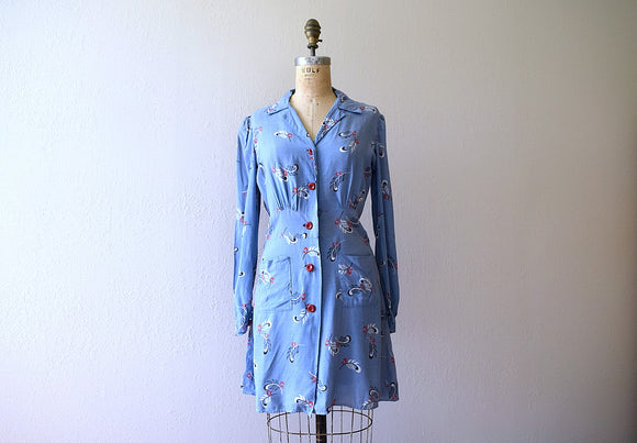 Early 1940s dress . vintage 40s feather print tunic