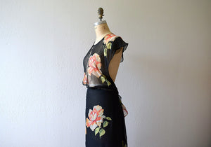 1930s chiffon dress . vintage 30s rose print dress
