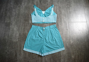 1940s 1950s playsuit . vintage 40s 50s teal beachwear
