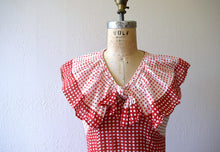 Load image into Gallery viewer, 1930s dress . vintage 30s red and white deco print dress