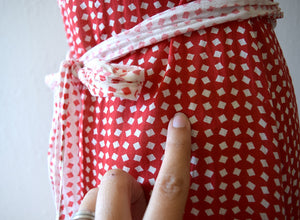 1930s dress . vintage 30s red and white deco print dress