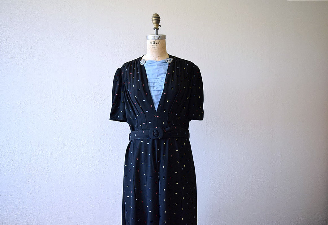 1940s puff sleeve dress . vintage 40s rayon dress