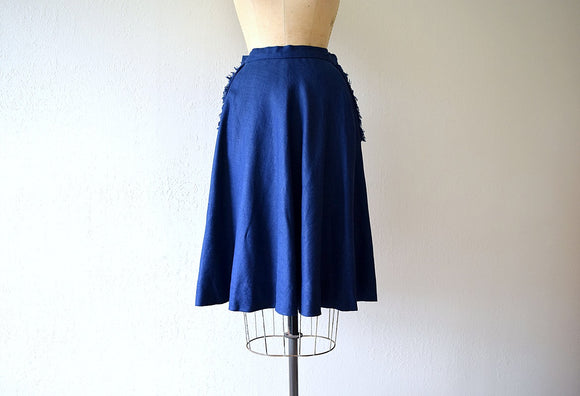 1940s linen skirt . vintage 40s navy blue skirt