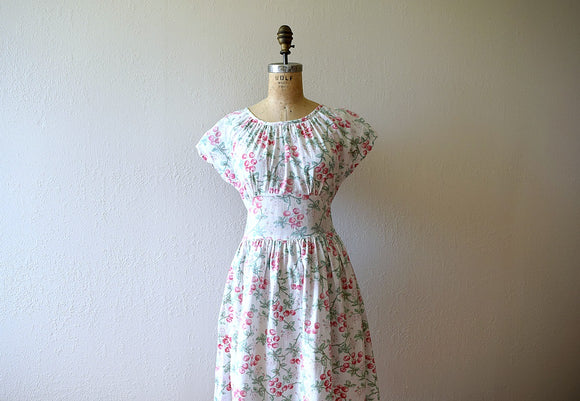 1940s cherry print dress . vintage 40s novelty print dress