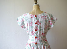 Load image into Gallery viewer, 1940s cherry print dress . vintage 40s novelty print dress
