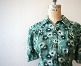 Early 1940s dress . vintage 40s green floral dress