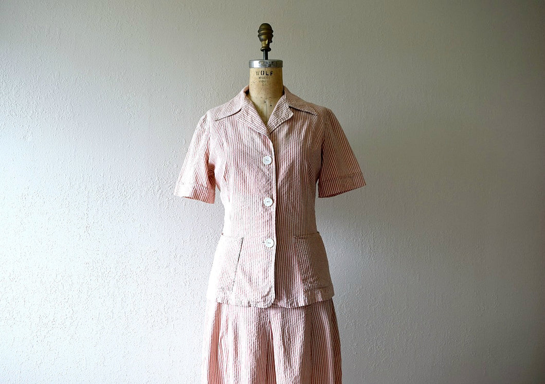 1940s seersucker suit . vintage 40s dress set