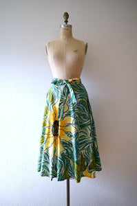 1950s skirt . vintage 50s sunflower skirt