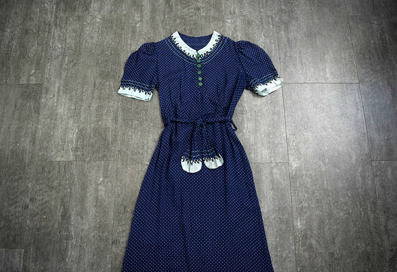 Vintage 1930s dress . 30s puff sleeve dress