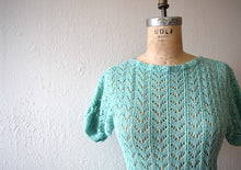 Load image into Gallery viewer, 1940s knit dress . vintage green knit dress
