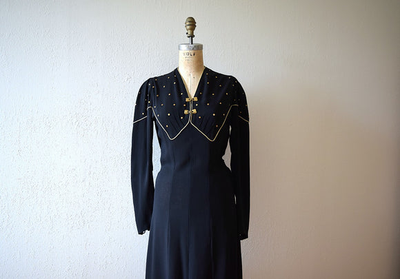 1930s studded dress . vintage 30s black rayon dress