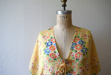 Load image into Gallery viewer, 1920s 1930s silk pongee bed jacket . vintage 20s floral robe