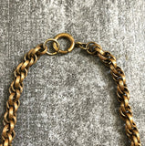 1940s brass necklace . vintage 40s jewelry