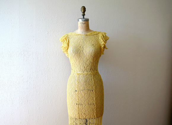 1930s lace gown . vintage 30s yellow lace dress