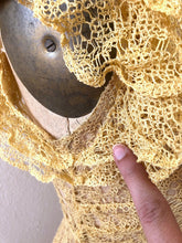 Load image into Gallery viewer, 1930s lace gown . vintage 30s yellow lace dress
