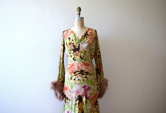 1930s silk gown . vintage 30s floral print dress