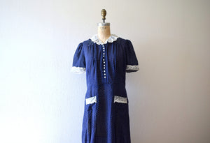 Late 1930s dress . large vintage 30s navy blue dress