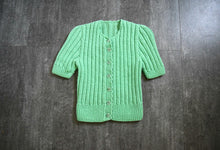 Load image into Gallery viewer, 1930s 1940s green knit top . vintage 30s 40s sweater
