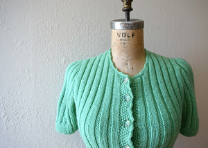 1930s 1940s green knit top . vintage 30s 40s sweater