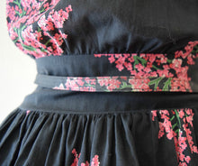 Load image into Gallery viewer, 1940s dark floral dress . vintage 40s dress
