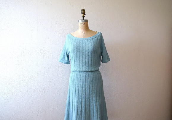 1940s knit dress . 40s vintage knitwear