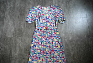 1930s rayon dress . vintage late 30s floral print dress