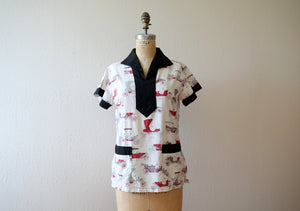 1940s 1950s top . vintage car novelty print top