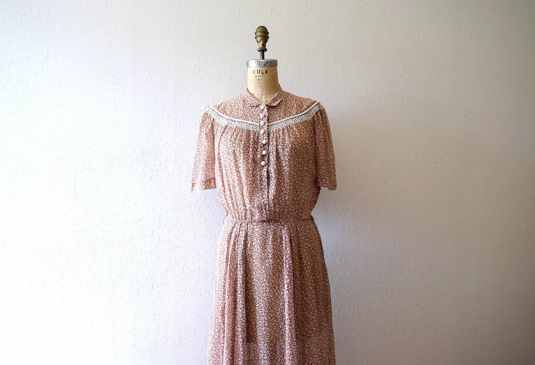 Early 1940s dress . vintage 40s brown floral dress