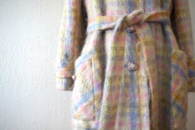 Load image into Gallery viewer, 1960s mohair coat . vintage 60s pastel plaid jacket