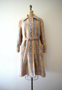 1960s mohair coat . vintage 60s pastel plaid jacket