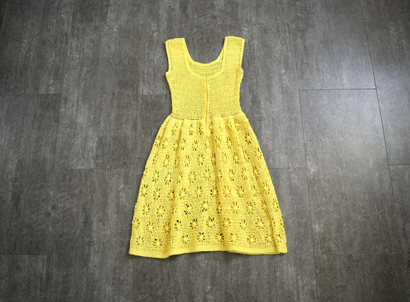 1960s crochet dress . vintage yellow crochet dress