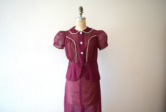 1930s dress set . vintage 30s puffed sleeve dress