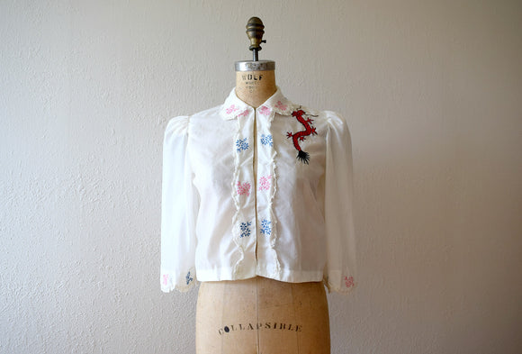 1940s souvenir bed jacket . 40s WWII sleepwear