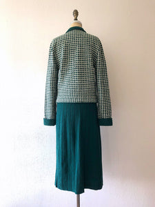 1940s knit set . vintage 40s green knit dress