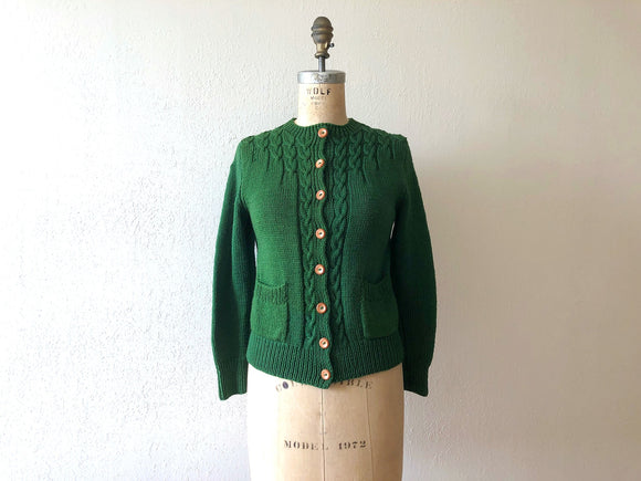 1940s cardigan . vintage 40s green sweater