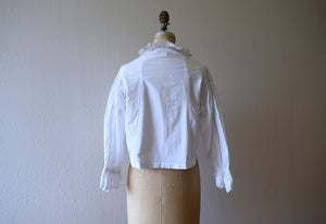 Antique cotton top . vintage white ruffled top
