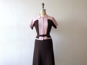 1940s knit set . vintage 40s knit dress
