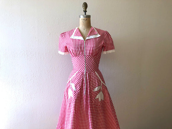RESERVED . . . on layaway . 1940s gingham dress