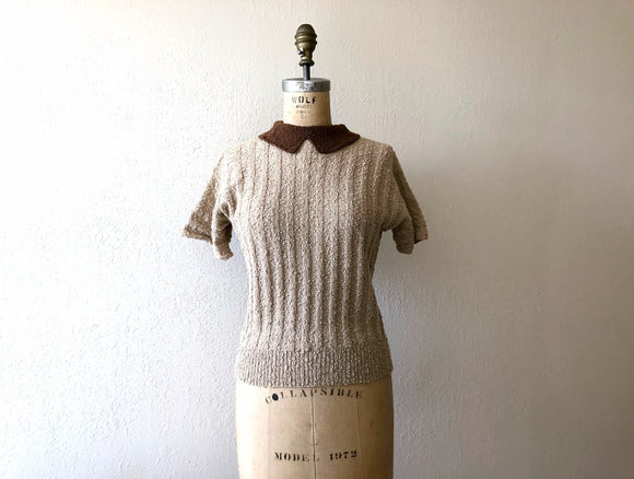 1940s knit top . vintage 40s wool knit sweater