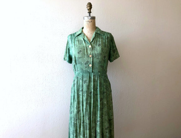 1940s rayon dress . vintage 40s green dress
