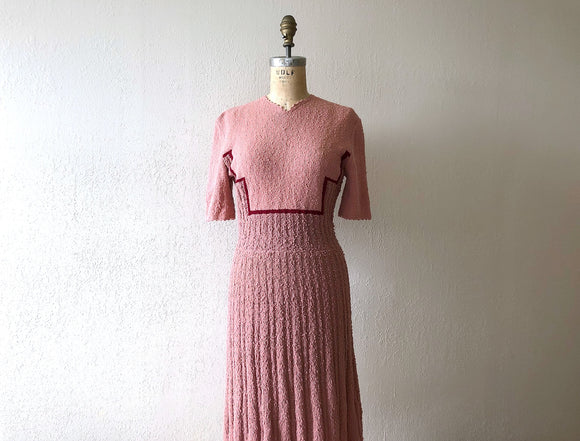RESERVED . . . on layaway . 1940s color block knit dress