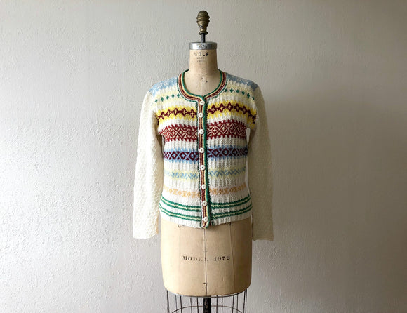 1940s knit cardigan . vintage 40s fair isle sweater